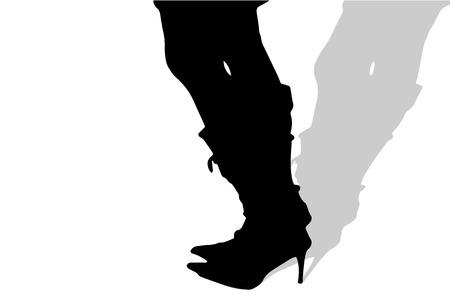 Vector silueta de pies femeninos sobre un fondo blanco.