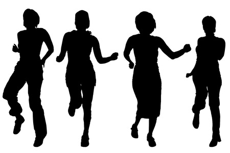 sexy women: Vector silhouettes of women on a white background. Illustration