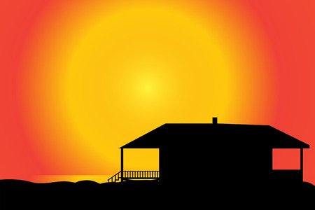 eden: Vector silhouette of a house on the beach at sunset.