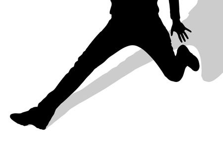 girl care: Vector silhouette of female feet on a white background.
