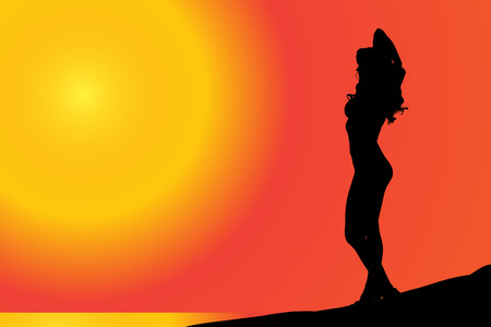 sexy hot couple: Vector silhouette of a woman who is sunbathing on the beach.
