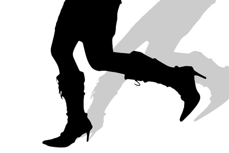 nice stay: Vector silhouette of female feet on a white background.