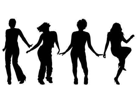 dancing people: Vector silhouettes of women on a white background. Illustration