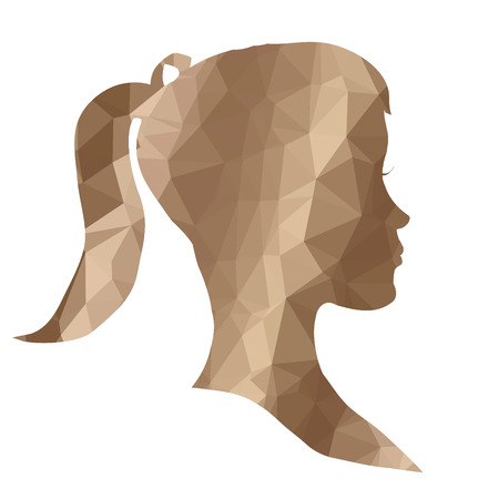 profile silhouette: Low poly face silhouette on white background.