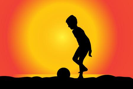 swim boy: Vector silhouette of boy on a beach at sunset.
