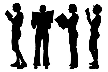 reading books: Vector silhouettes of women on a white background. Illustration