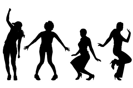 zumba: Vector silhouettes of women on a white background. Illustration