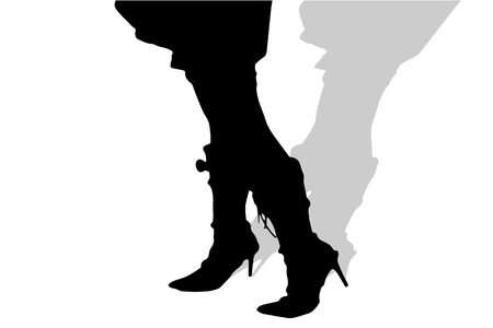 legs woman: Vector silhouette of female feet on a white background.