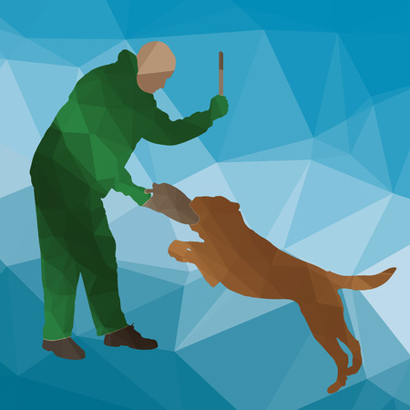 barking: low poly silhouette dog training on a blue background