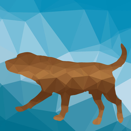 labrador teeth: low poly silhouette dog on a blue background