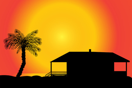 tahiti: Vector silhouette of a house on the beach at sunset.