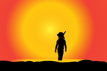 couple beach sunset: Vector silhouette of girl on a beach at sunset.