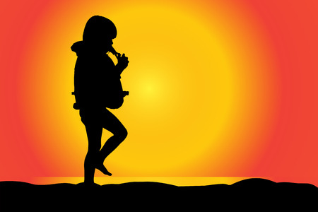 sky dive: Vector silhouette of girl on a beach at sunset.
