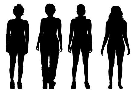 elegant woman: Vector siluetas de mujeres sobre un fondo blanco. Vectores