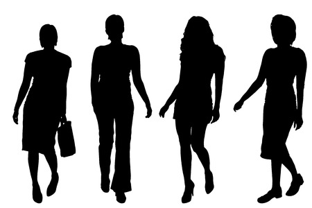 Vector silhouettes of women on a white background. Stock Illustratie