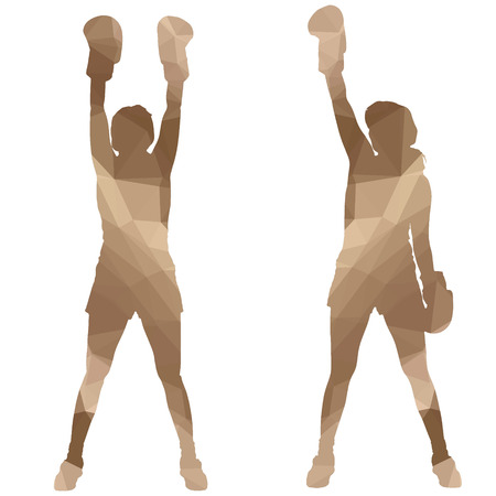 sexy girls: Low poly boxing woman on white background. Illustration