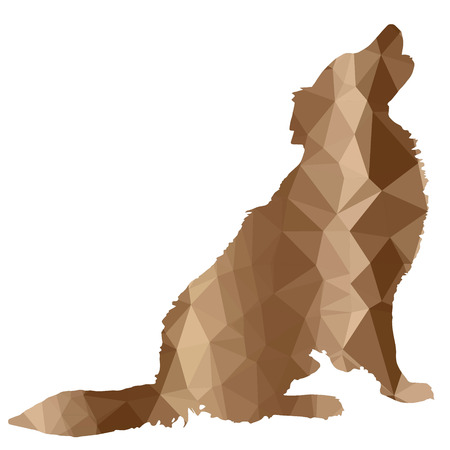 teaching adult: low poly silhouette dog on a white background Illustration