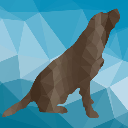 fury: low poly silhouette dog on a blue background