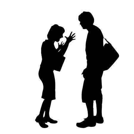 hassle: Vector silhouette of a couple on a white background.