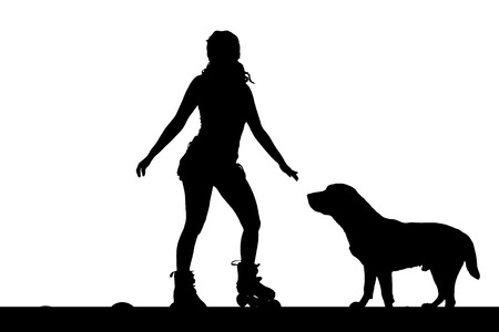 rollerblading: Vector silhouette of a woman with her dog.