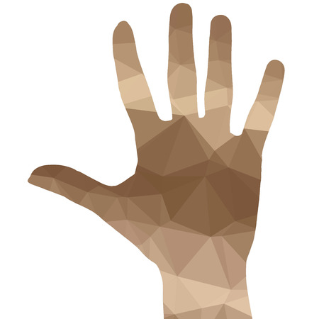 hand silhouette: Low poly silhouette hand on white background.