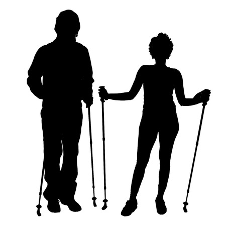 couple hiking: Vector silhouette of a couple on a white background.