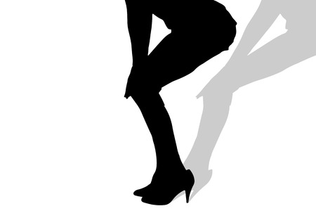 sexy girl: Vector silhouette of female feet on a white background.