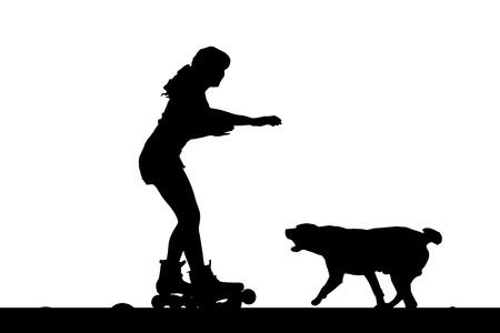 inline skate: Vector silhouette of a woman with her dog.