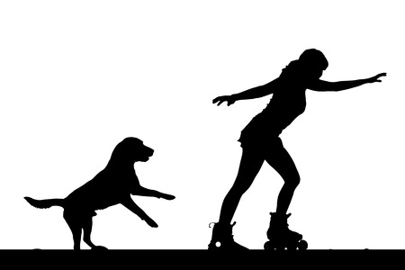 rollerblading: Vector silhouette of a woman on rollerskate with her dog. Illustration