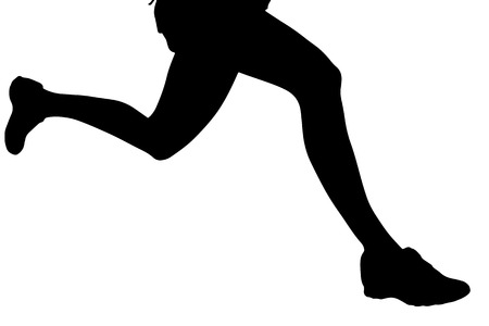 girl in shorts: Vector silhouette of female feet on a white background.