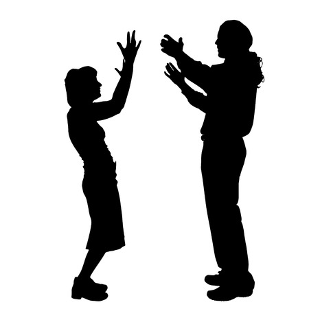 happy couple: Vector silhouette of a couple on a white background.