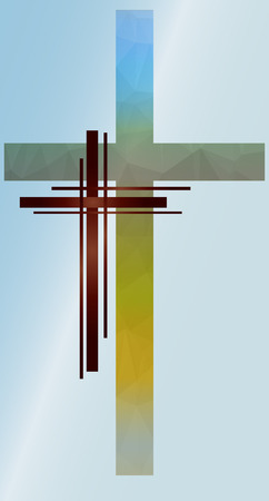low poly crucifix on a colored background