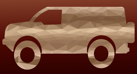 tire cover: low poly silhouette car on colored background