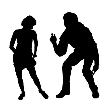 romantic sexy couple: Vector silhouette of a dancing couple on a white background. Illustration
