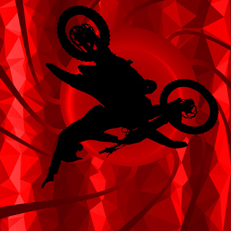 low poly silhouette motocross rider on background