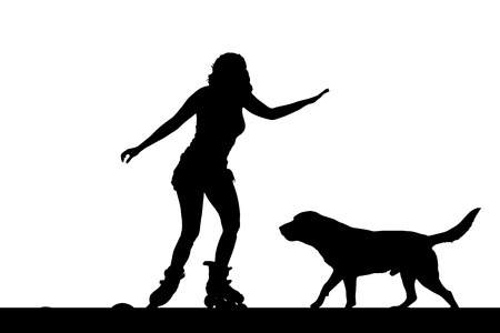 rollerblading: Vector silhouette of a woman on inline skate with his dog.