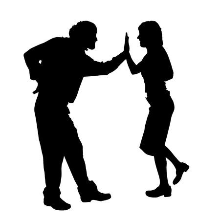 siluetas mujeres: Vector silueta de una pareja de baile sobre un fondo blanco.
