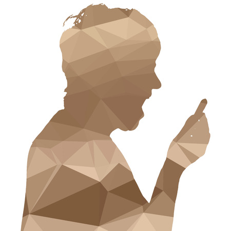 black woman face: Low poly silhouette woman on white background. Illustration
