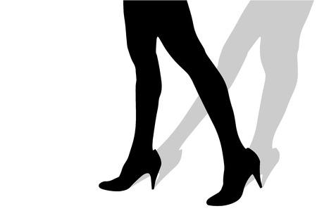 sexy f�sse: Vector Silhouette der weiblichen F��e auf einem wei�en Hintergrund.