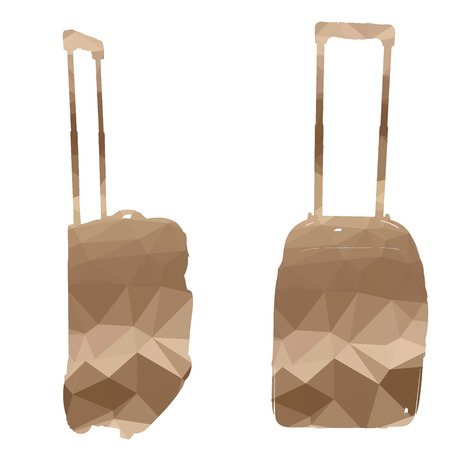 trolley case: Low poly silhouette luggage on white background. Illustration