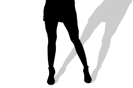 beauty woman: Vector silhouette of female feet on a white background.