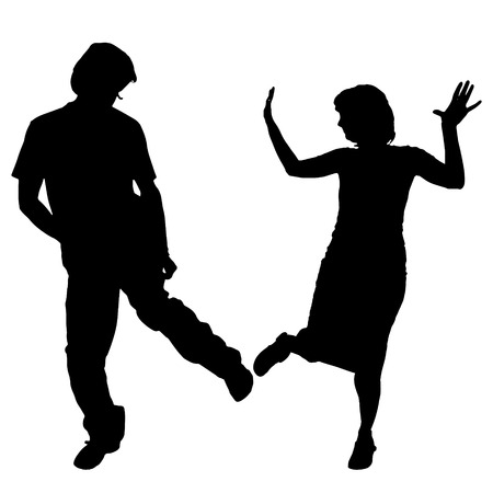 sexy young couple: Vector silhouette of a dancing couple on a white background. Illustration