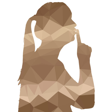quietly: Low poly silhouette woman on white background. Illustration