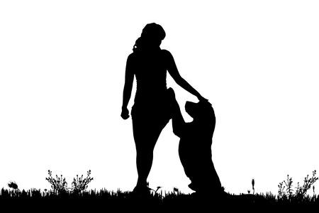 草原の犬を持つ女性のベクトル シルエット。