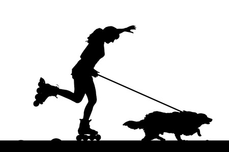 inline skate: Vector silhouette of a woman on inline skate with her dog.