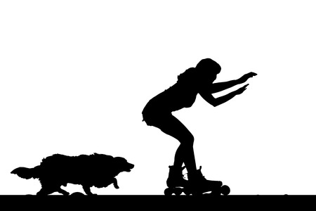 rollerblading: Vector silhouette of a woman on rollerblades with his dog.