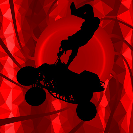 dirtbike: low poly silhouette motocross rider on background
