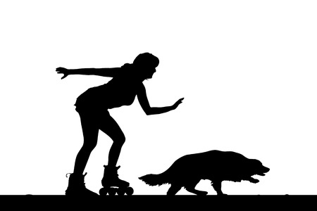 rollerblades: Vector silhouette of a woman on rollerblades with his dog.