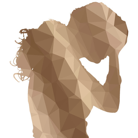 woman black background: Low poly silhouette woman on white background. Illustration