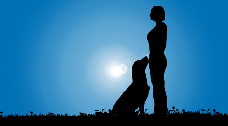 dog outline: Vector silhouette of a woman with a dog on a meadow.